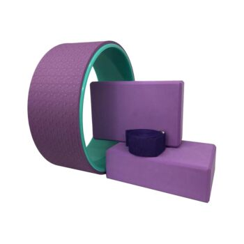 Yoga Pilates Wheel Set Purple 4pcs with Band & Blocks for Muscle Relaxing & Stretching