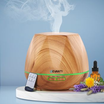 Devanti Ultrasonic Aroma Aromatherapy Diffuser Oil Electric LED Air Humidifier 400ml Light Wood Diffusers Silent Operation Gift Present Home Office