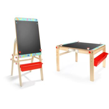 Top Bright 2 in 1 Kids Wooden Easel & Drawing Table Double-Sided Whiteboard & Chalkboard Adjustable Height