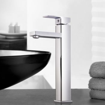 WELS Mixer Tap Bath Basin Taps Counter Faucet Square Tall Vanity Brass
