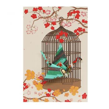 Small Card Crane in Cage Fans Aqua