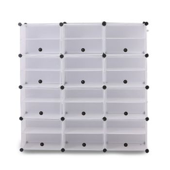 8 Tier Cute Cabinet Stackable Organiser for Shoes in White with 3 Columns