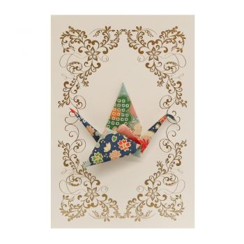 Small Card Crane Blossom Green