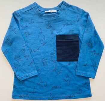 Mamino- Boy- Birdy - Blue - Long Sleeves Printed Tee Shirt With Chest pocket