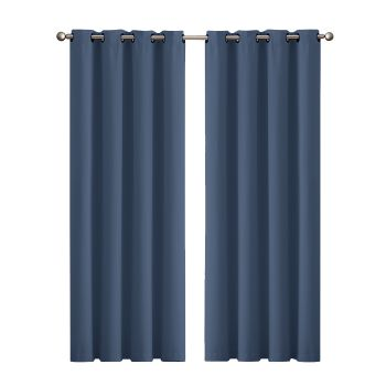 2x Blockout Curtains Panels 3 Layers Eyelet 140x230cm in Indigo