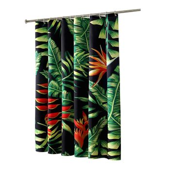 Palm Tree Print Waterproof Shower Curtain with 12 hooks 180 x180 cms