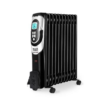 Spector 1500W Electric Portable 11 Fin Oil Heater Panel 24H Timer Column Heat
