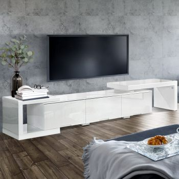 290CM TV Cabinet Entertainment Unit Stand High Gloss Lowline White