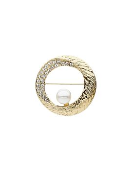 Barcs Australia Pearl And Crystal Women's Gold Plated Brooch