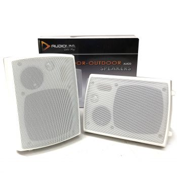 "Audioline indoor outdoor speakers 4"" 3-way white - includes wall mount brackets"