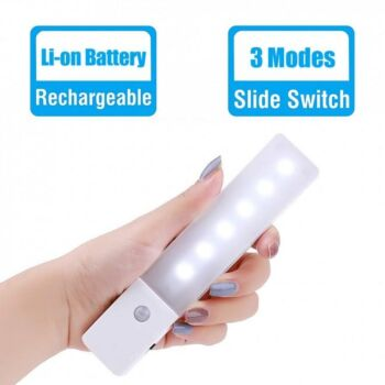 Simplecom EL608 Cool White Rechargeable Infrared Motion Sensor Wall LED Night Light Torch