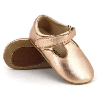 SKEANIE Leather T-Bar Shoes in Rose Gold