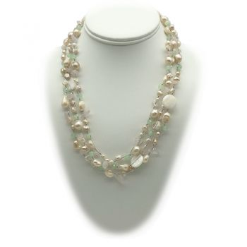 Opera Style Mother Of Pearl, Freshwater Pearls & Crystal Beaded Necklace
