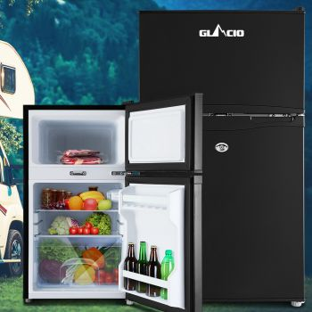 Glacio 90L Portable Fridge Bar Freezer Cooler Upright 12V/24V/240V Caravan 4WD Car Camping Black