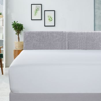 Mega King Bed 400TC Bamboo Cotton Fitted Sheet in White