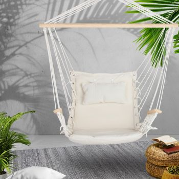 Gardeon Hanging Rope Hammock Chair Outdoor Camping Portable Swing Hammocks Cream