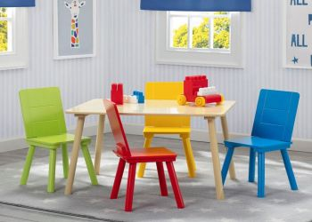 Delta Children Kids Table and 4 Chair Set - Natural/Primary