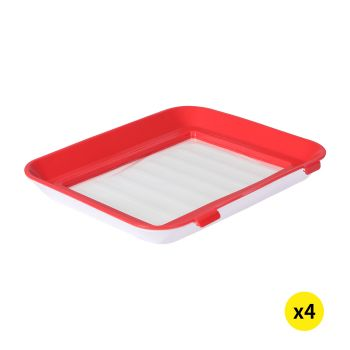 Reusable Kitchen Food Containers Tray Storage Set Organizer x4