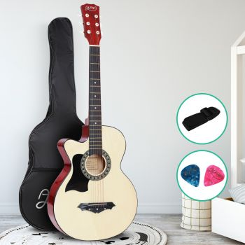 Guitar Left Handed Acoustic Guitars 38 Inch Wooden Folk Classical Cutaway Steel String For Kids and Adult Natural Wood Alpha