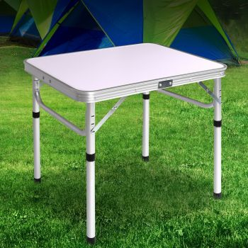 Weisshorn Folding Camping Table Portable Laptop PC Bed Dining Desk Picnic Garden Adjustable Height