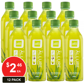 12 Pack, Alo 500ml Aloe Vera Allure Mango And Mangosteen