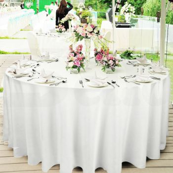 1 Pc 220cm White Round Fitted Tablecloth Trestle Edges for Events and Weddings