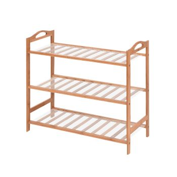 Levede 3 Tier Bamboo Storage Shoe Rack Organiser