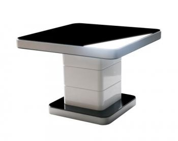 Innova Modern Lamp Side Table - Glass Top - Metal Legs