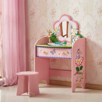 ALL 4 KIDS Olivia the Fairy Girl's Dressing Table with Stool