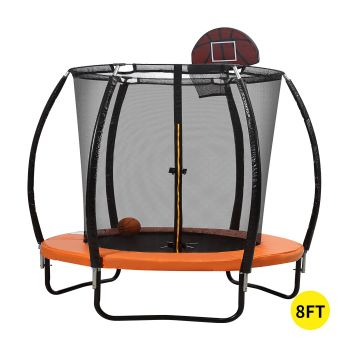 8FT Trampoline Round Trampolines Kids Enclosure Outdoor Safety Net Basketball