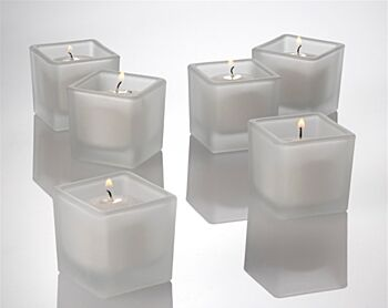 24 Pack - Frosted 5cm Square Cube Glass White Wax Votive Candle - wedding bomboniere table decoration