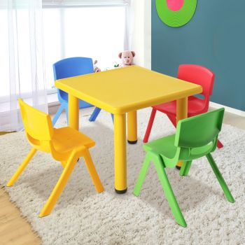 Kids Table and Chairs Set Children Study Desk Furniture Plastic Red 5PC Keezi Yellow