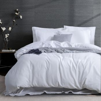 Queen Size 3PC Linen Cotton Quilt Cover Sets in White