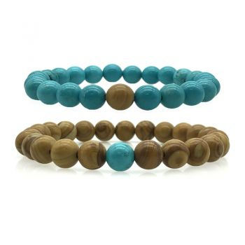 2pcs Natural Turquoise & Natural Wood Lace Stone Beaded His & Hers Couple Relationship Bracelets