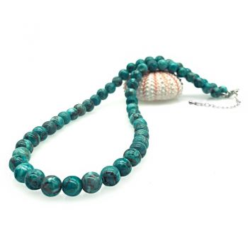8mm Natural Round Gorgeous Semi-Precious African Jasper Turquoise Colour Gemstone Necklace
