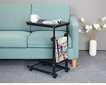 Rolling Height Adjustable Desk Sofa Side Table with Storage Small Laptop Table