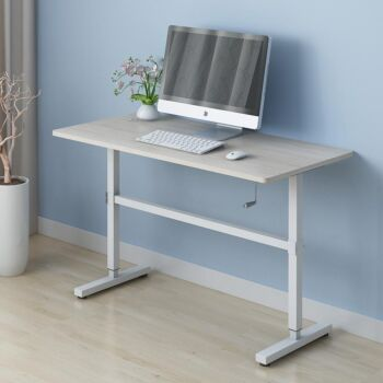 ZASS Stand Up Table Sit & Stand Desk Height Adjustable Table Laptop Desks Home Office Manual Adj. - Maple
