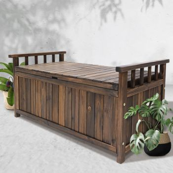 Outdoor Storage Box Wooden Garden Bench Chest Toy Tool Sheds Furniture Charcoal Gardeon