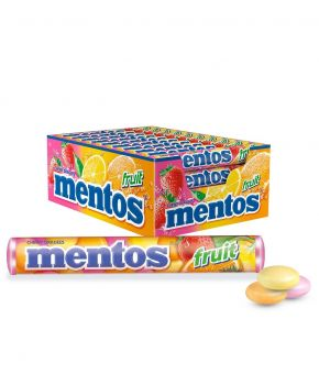 Mentos Fruit Candy Roll, 40 Rolls, Classic Mix of Strawberry, Lemon and Orange