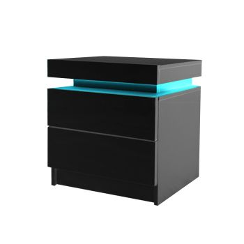 Levede Bedside Table with Drawers RGB LED Side Table with High Gloss Nightstand Cabinet