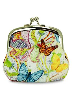 Beautiful Cloth Covered and Lined Coin Purse Butterfly Magic
