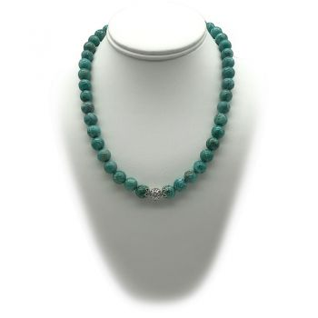 10mm Natural Round African Jasper Turquoise Colour & Rhinestone Gemstones Stretch Beaded Necklace
