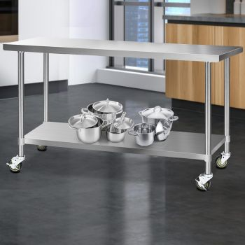 Cefito 1829x610mm Stainless Steel Kitchen Benches Work Bench Food Prep Table 430 Food Grade Stainless Steel w/ Wheels