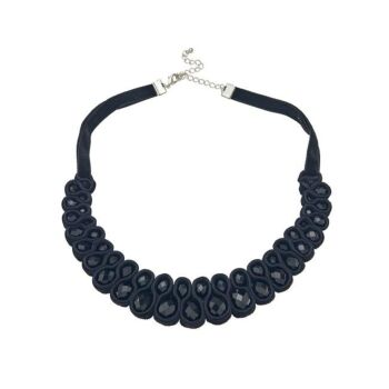 Amelie Velvet and Stone Statement Necklace