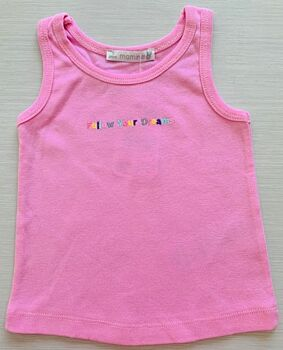 Mamino- Girl- Dreams-Pink - Singlet with Embroidery