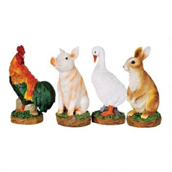 Garden Ornament Farm Animals - Duck, Bunny, Pig and Rooster