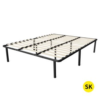 Levede Metal Bed Frame with Timber Slats in Super King Size