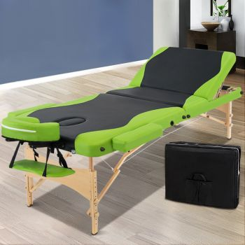 Zenses 70CM Wooden Portable Massage Table 3 Fold Beauty Therapy Bed Waxing Green