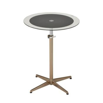 Upo Height Adjustable Round Side Lamp End Table Glass Top