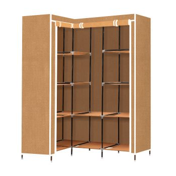Levede Portable Clothes Closet Storage Organizer With Shelves in Coffee
